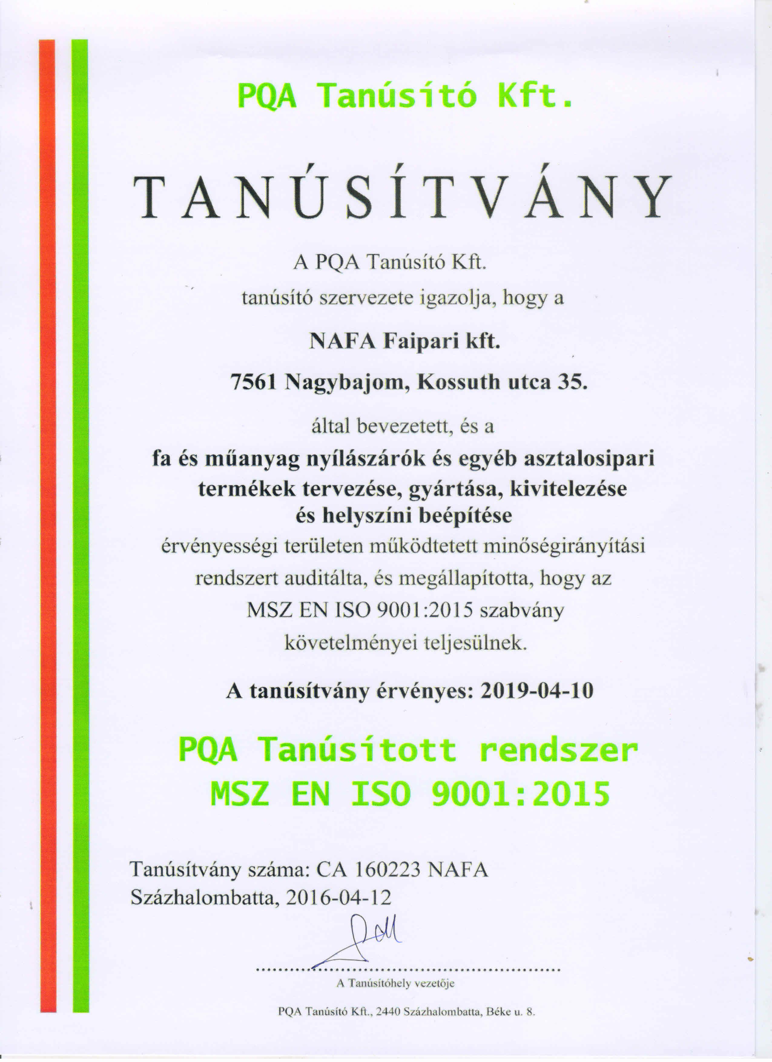NAFA Kft. ISO 9001-2015 Minősítés