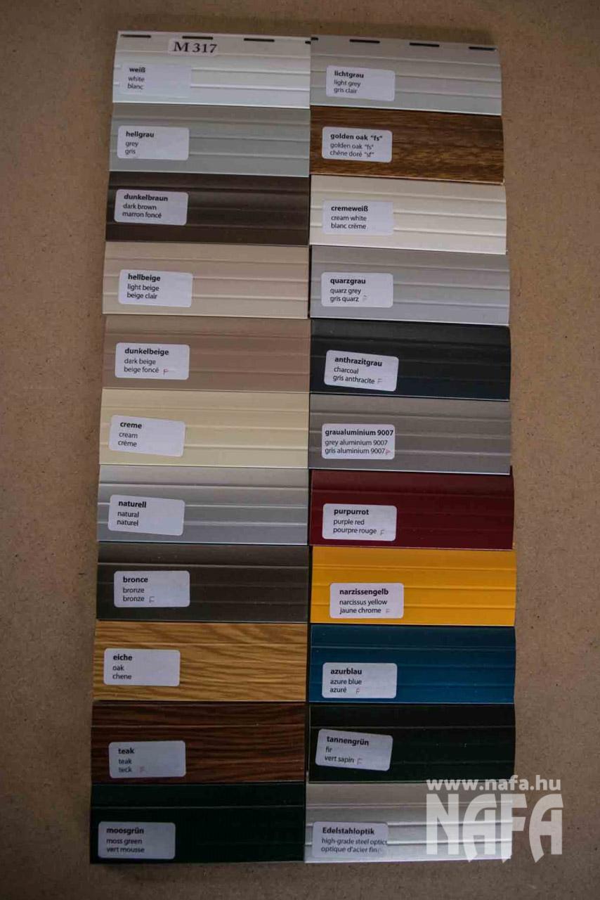 Műanyag és hőszigetelt alumínium redőnylevél színminta, színek 3